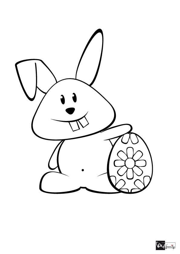 Malvorlagen Osterhase mit Osterei