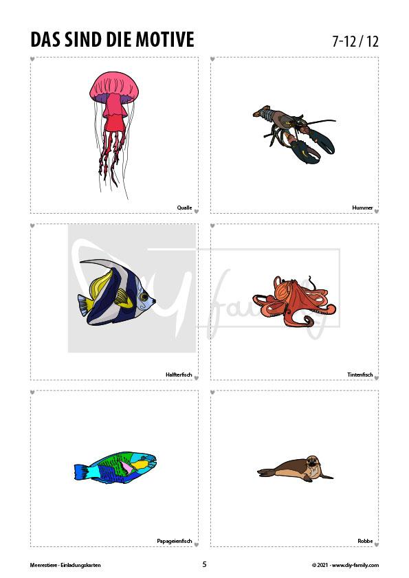 Meerestiere – Einladungskarten zum Ausmalen