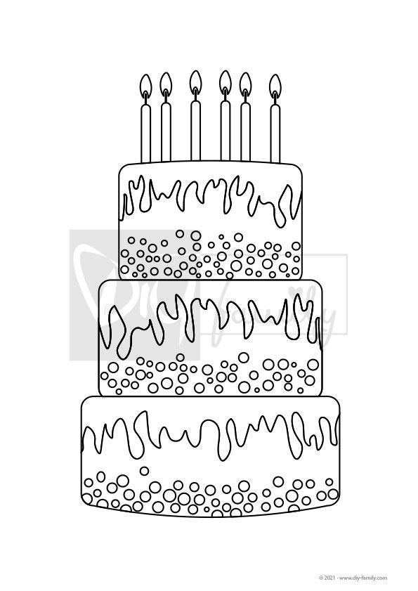 Geburtstagstorte – Einzelausmalvorlage