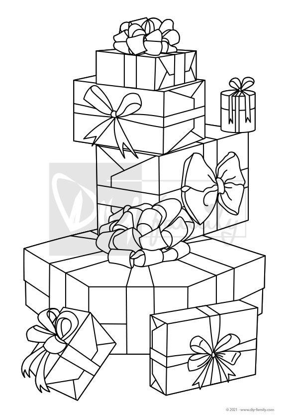 Geschenke – Einzelausmalvorlage