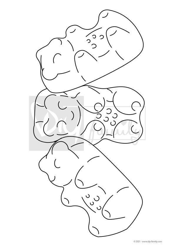 Gummibärchen – Einzelausmalvorlage