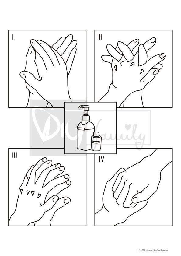 Hände Desinfizieren – Einzelausmalvorlage