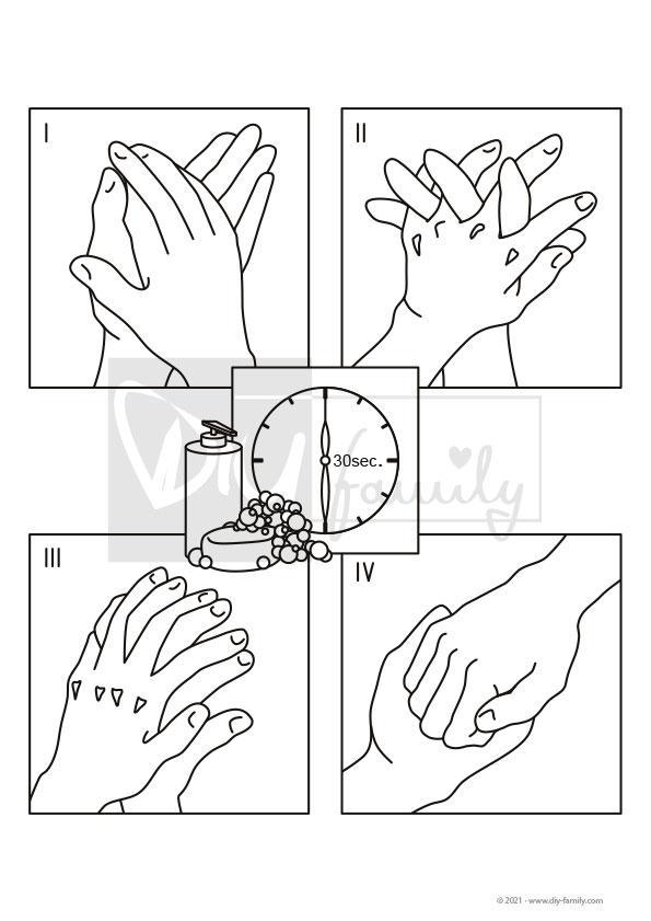 Hände Waschen – Einzelausmalvorlage