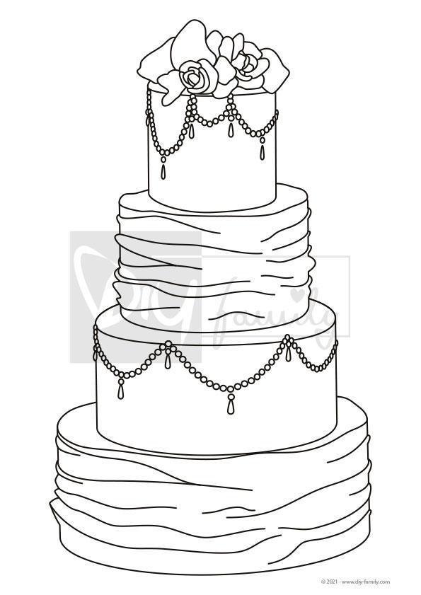 Hochzeitstorte – Einzelausmalvorlage