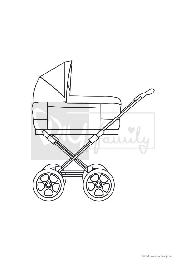 Kinderwagen – Einzelausmalvorlage