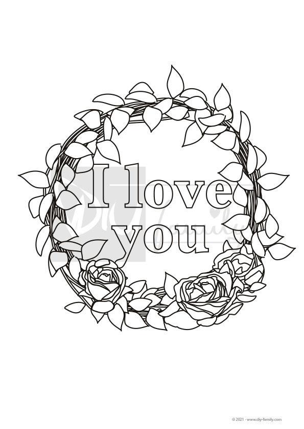 Kranz I Love You – Einzelausmalvorlage