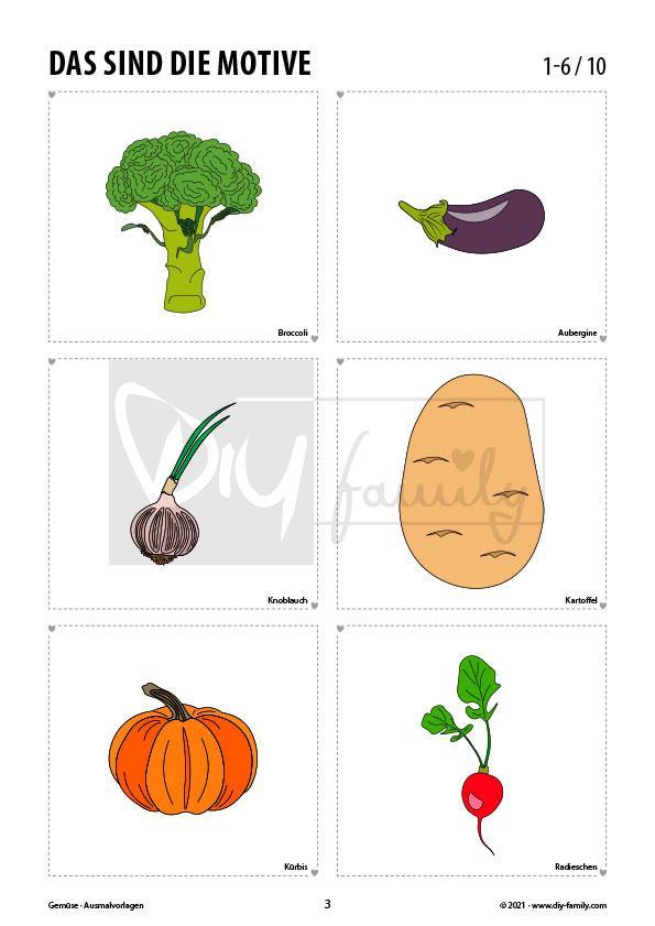 Gemüse – Ausmalvorlagen Sammlung