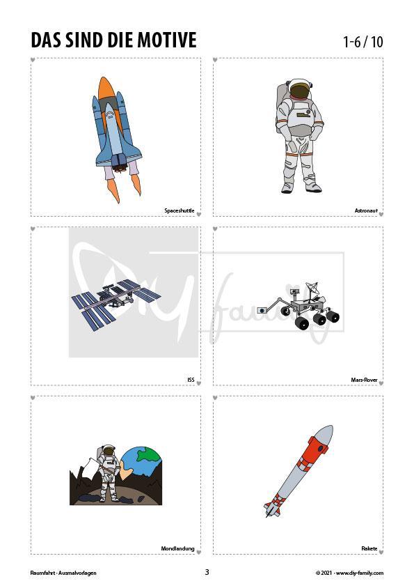 Raumfahrt – Ausmalvorlagen Sammlung