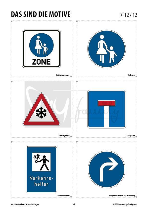 Verkehrszeichen 2 – Ausmalvorlagen Sammlung
