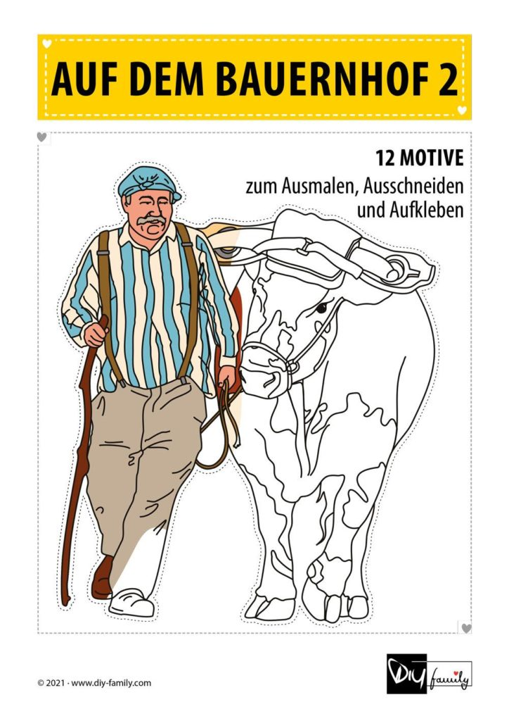 Bauernhof 2 – Motive zum Ausmalen, Ausschneiden und Aufkleben