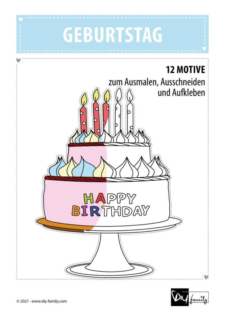 Geburtstag – Motive zum Ausmalen, Ausschneiden und Aufkleben