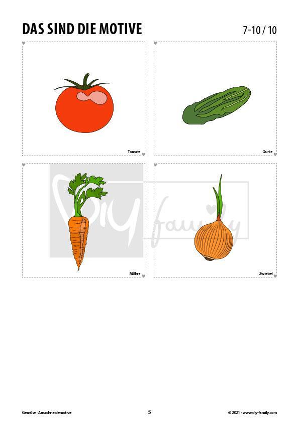 Gemüse – Motive zum Ausmalen, Ausschneiden und Aufkleben
