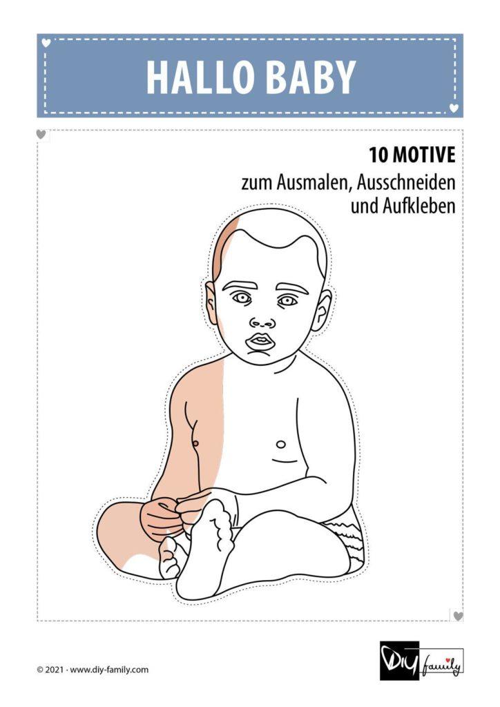 Baby – Motive zum Ausmalen, Ausschneiden und Aufkleben