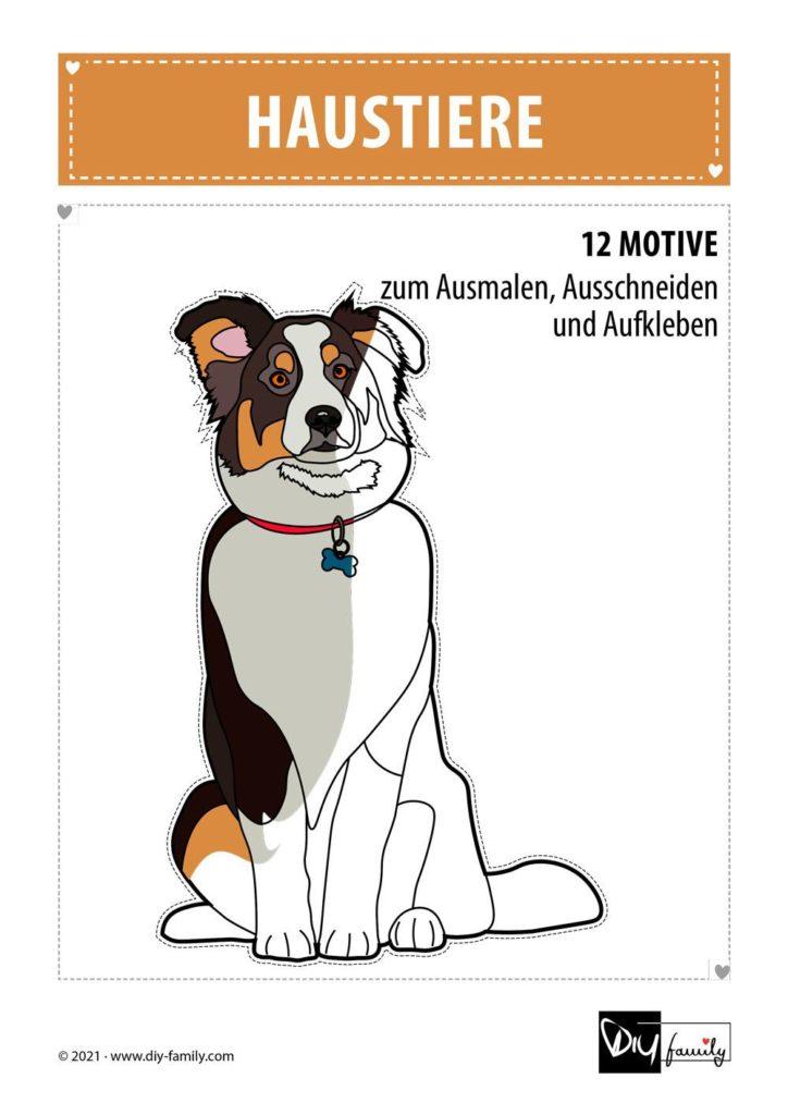 Haustiere – Motive zum Ausmalen, Ausschneiden und Aufkleben