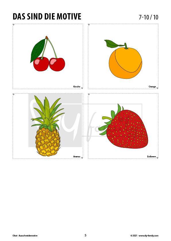 Rund um das Obst – Motive zum Ausmalen, Ausschneiden und Aufkleben