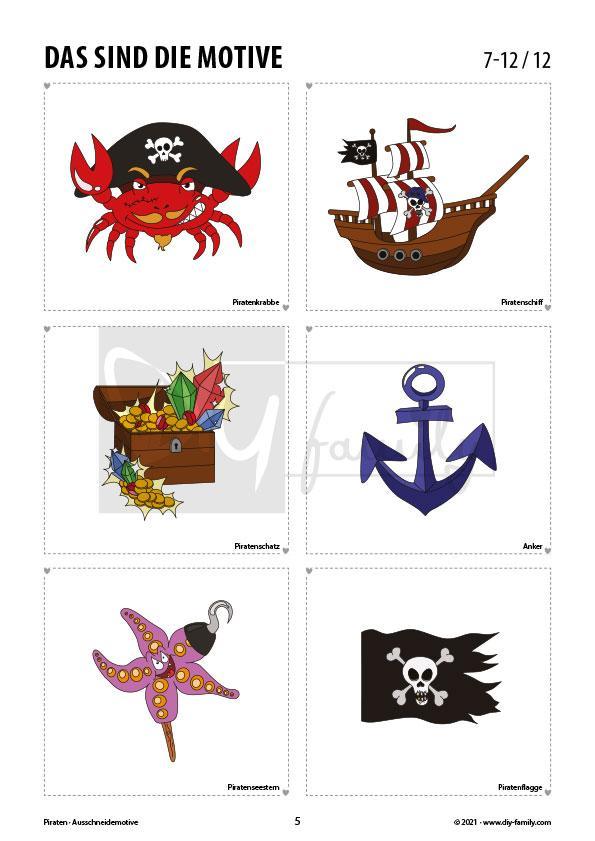 Piraten – Motive zum Ausmalen, Ausschneiden und Aufkleben