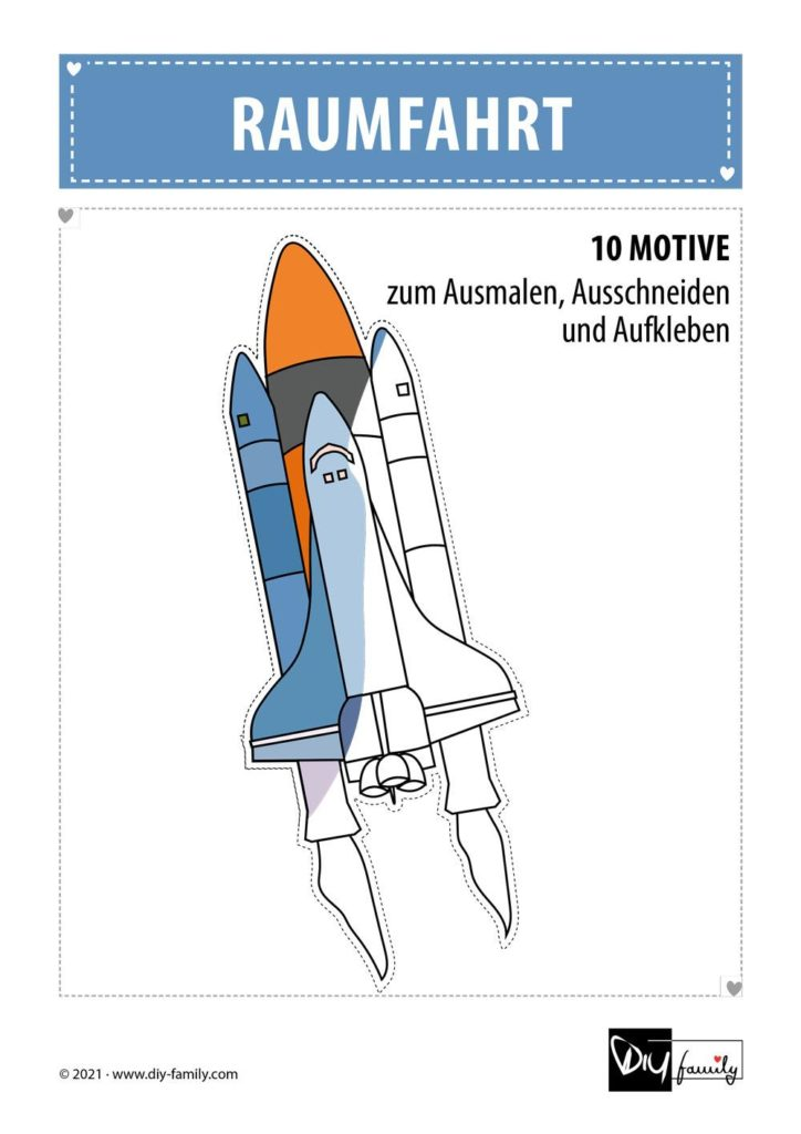 Raumfahrt – Motive zum Ausmalen, Ausschneiden und Aufkleben