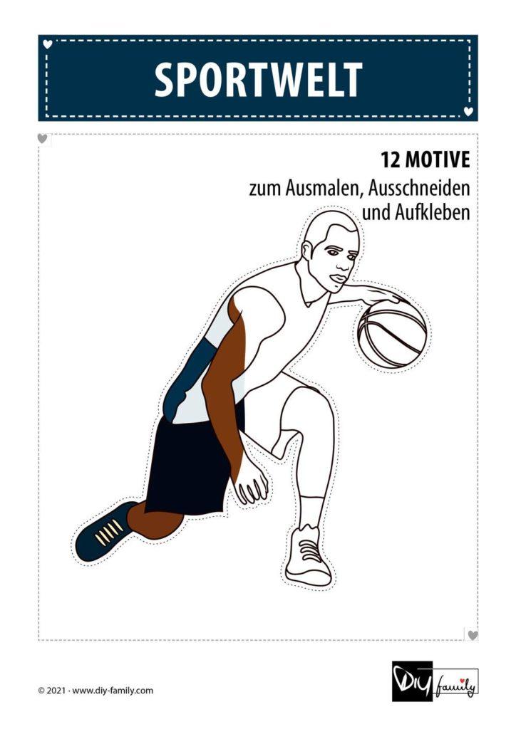 Sportwelt – Motive zum Ausmalen, Ausschneiden und Aufkleben