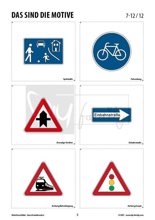 Verkehrszeichen 1 – Motive zum Ausmalen, Ausschneiden und Aufkleben