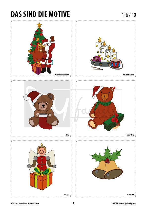 Weihnachten – Motive zum Ausmalen, Ausschneiden und Aufkleben