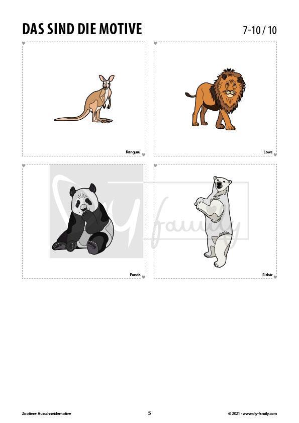 Zootiere – Motive zum Ausmalen, Ausschneiden und Aufkleben