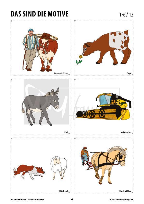 Bauernhof 2 – Motive zum Ausschneiden und Aufkleben