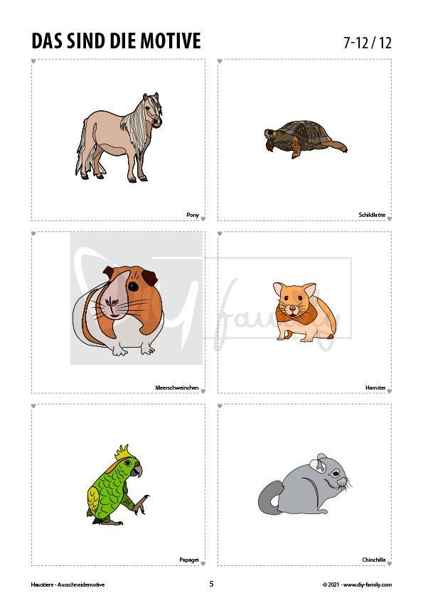 Haustiere – Motive zum Ausschneiden und Aufkleben