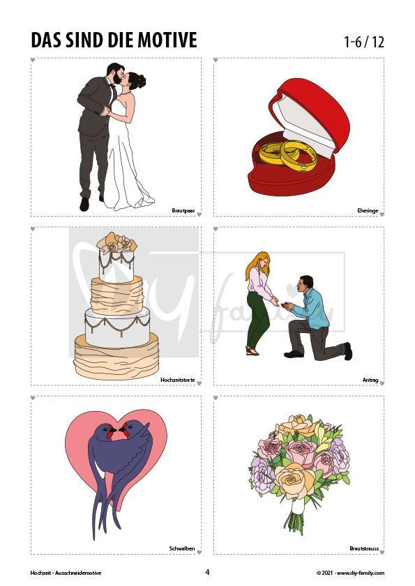 Hochzeit – Motive zum Ausschneiden und Aufkleben