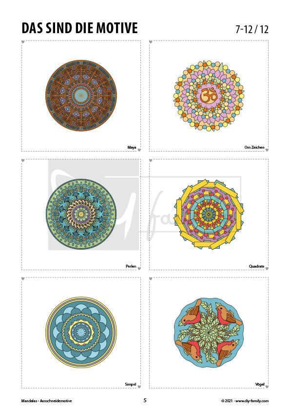 Mandalas – Motive zum Ausschneiden und Aufkleben