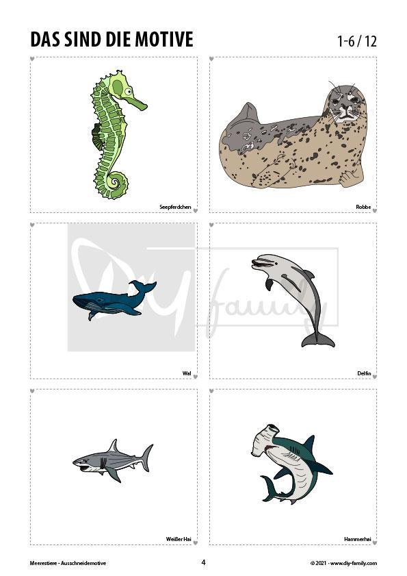 Meerestiere – Motive zum Ausschneiden und Aufkleben