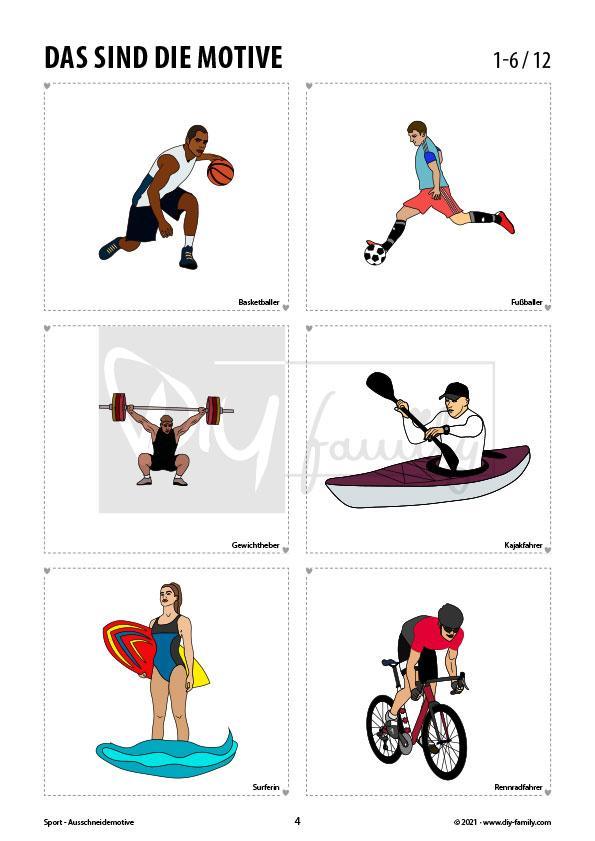 Sportwelt – Motive zum Ausschneiden und Aufkleben