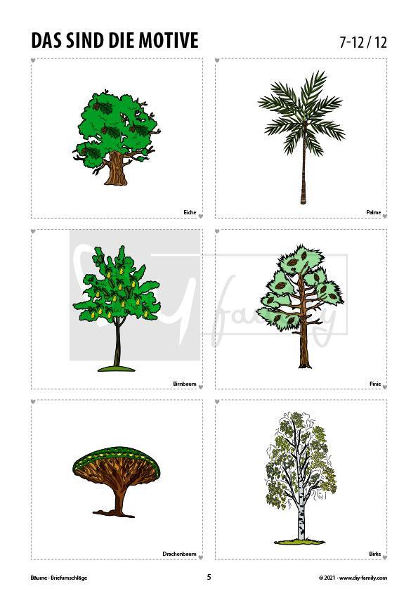 Briefumschläge Bäume