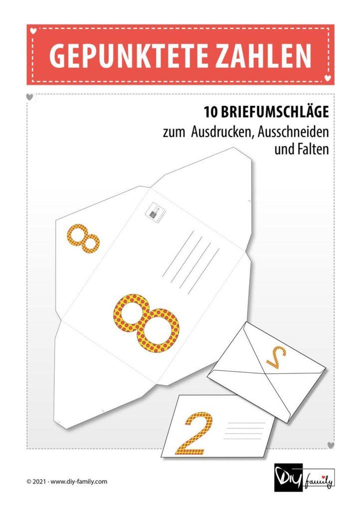 Briefumschläge gepunktete Zahlen
