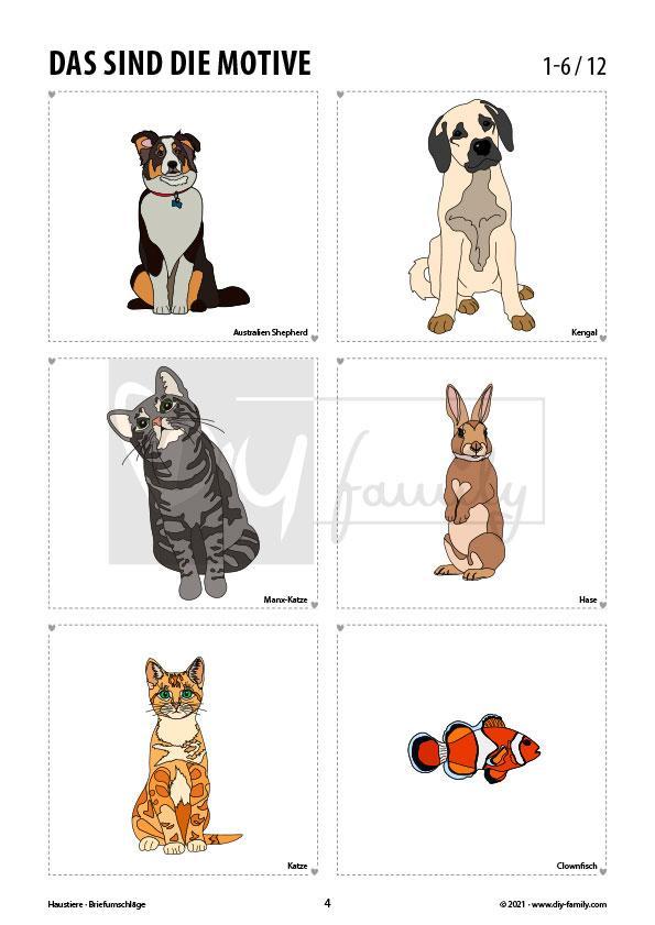 Briefumschläge Haustiere