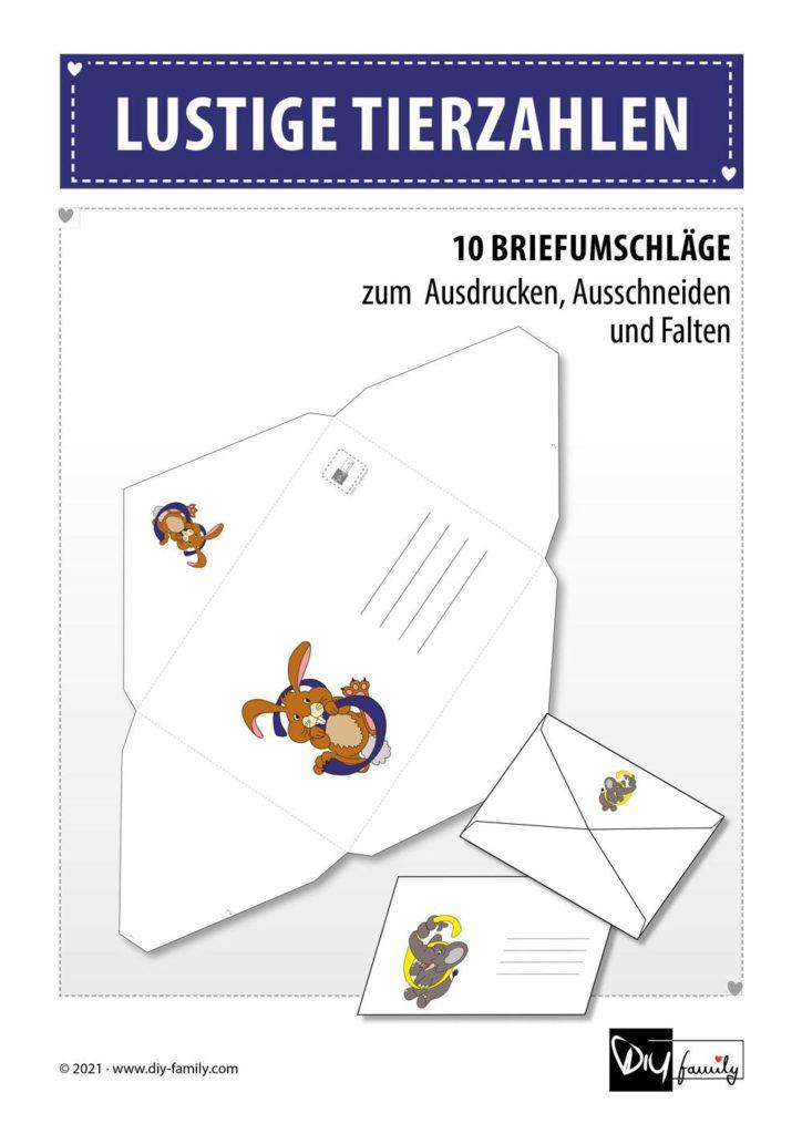 Briefumschläge lustige Tierzahlen
