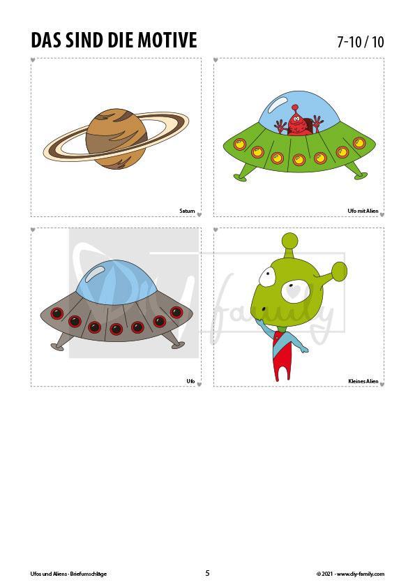 Briefumschläge Ufos und Aliens