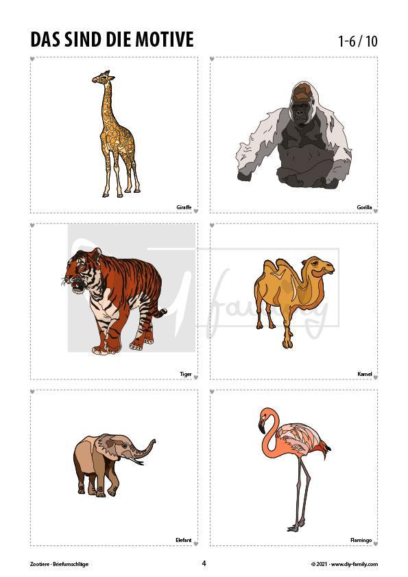 Briefumschläge Zootiere