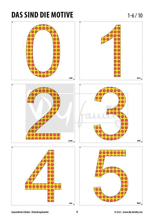 Gepunktete Zahlen – Einladungskarten