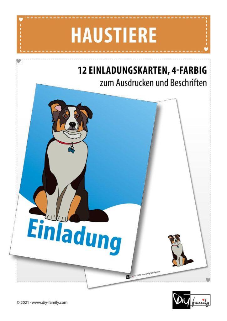 Haustiere – Einladungskarten