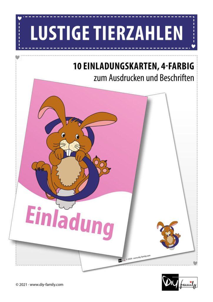 Lustige Tierzahlen – Einladungskarten