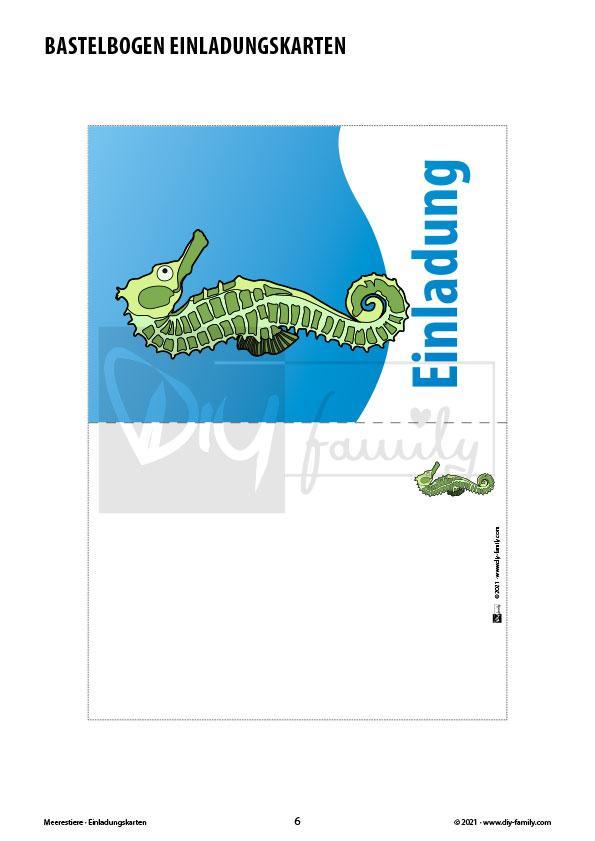 Meerestiere – Einladungskarten