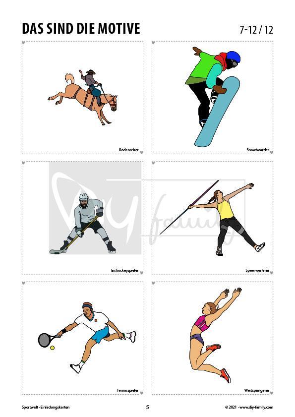 Sportwelt – Einladungskarten