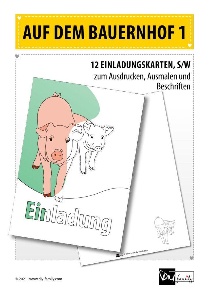 Bauernhof 1 – Einladungskarten zum Ausmalen