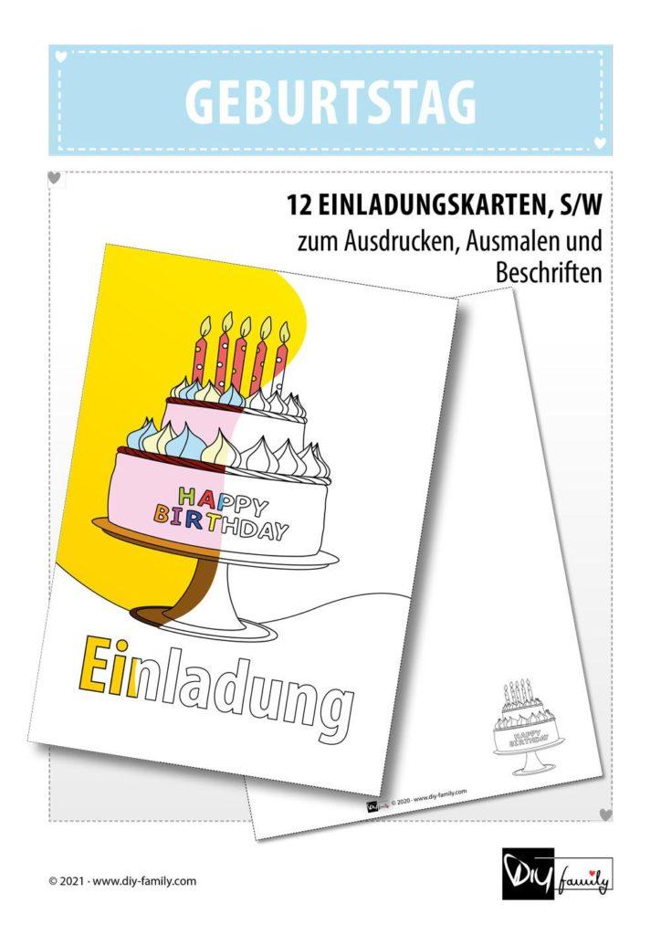 Geburtstag – Einladungskarten zum Ausmalen
