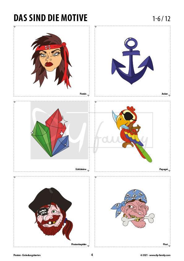 Piraten – Einladungskarten zum Ausmalen