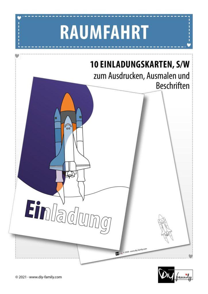 Raumfahrt – Einladungskarten zum Ausmalen
