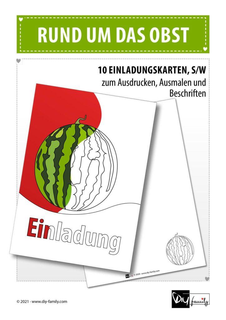 Rund um das Obst – Einladungskarten zum Ausmalen