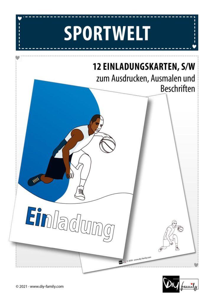 Sportwelt – Einladungskarten zum Ausmalen