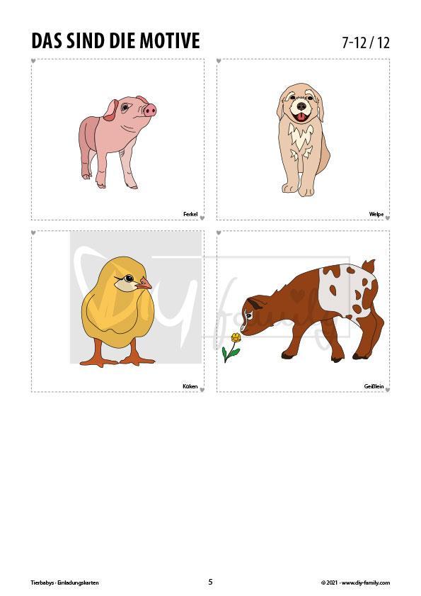 Tierbabys – Einladungskarten zum Ausmalen