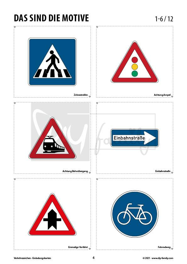 Verkehrszeichen 1 – Einladungskarten zum Ausmalen